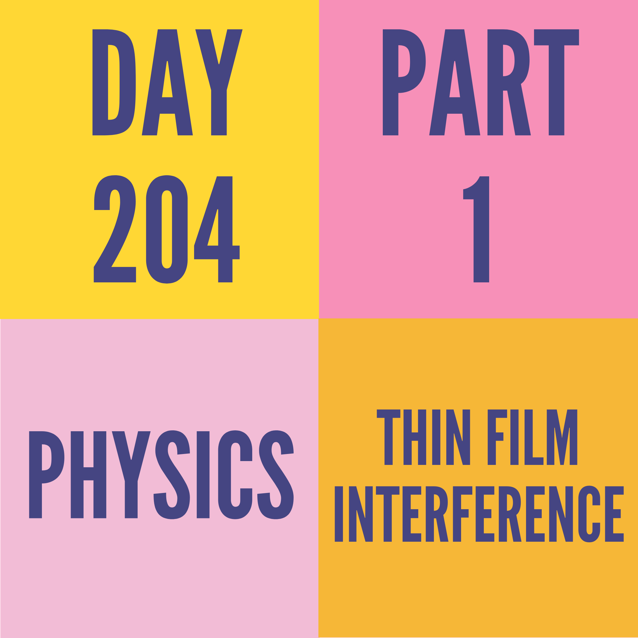 DAY-204 PART-1 THIN FILM INTERFERENCE