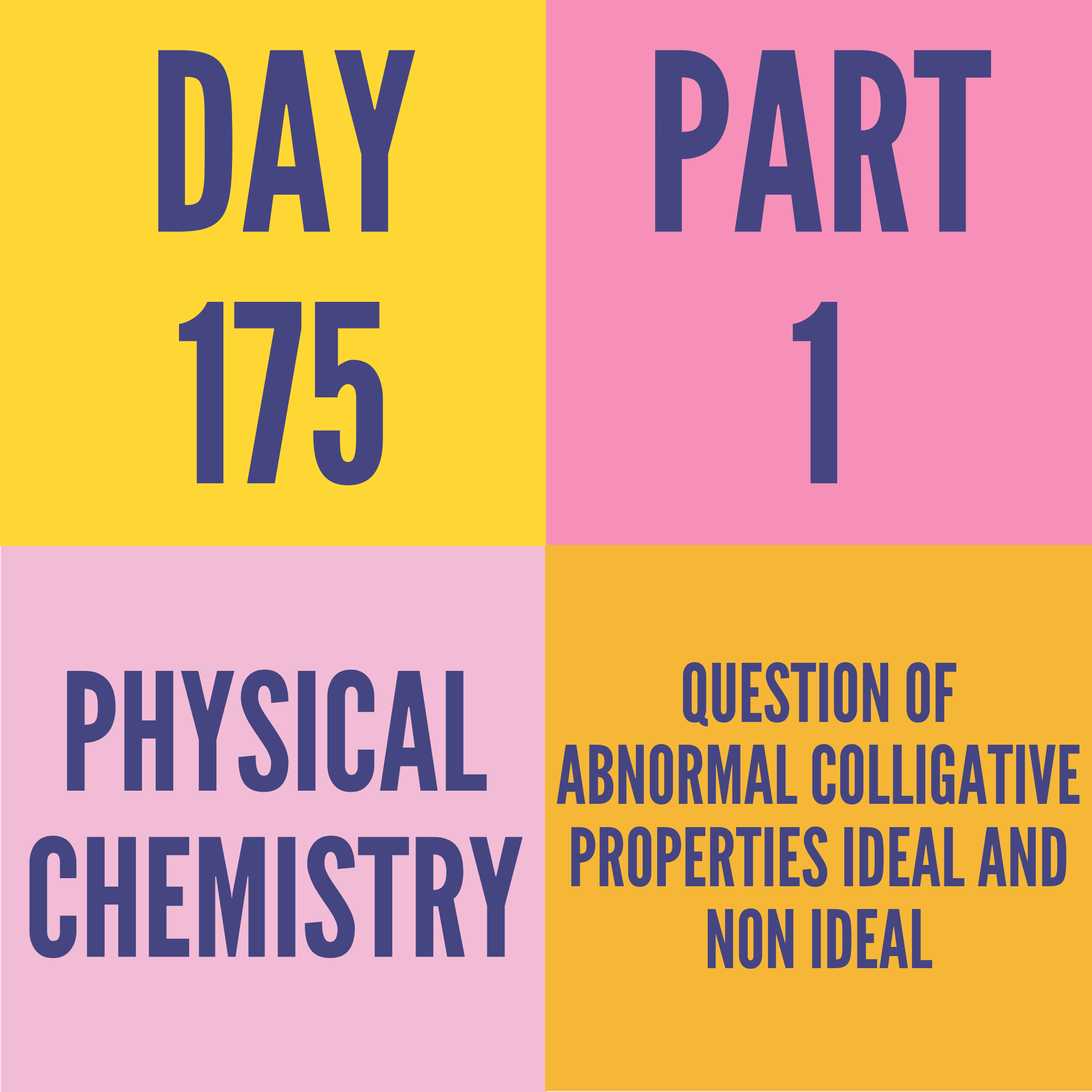 DAY-175 PART-1 QUESTION OF ABNORMAL COLLIGATIVE PROPERTIES IDEAL AND NON IDEAL