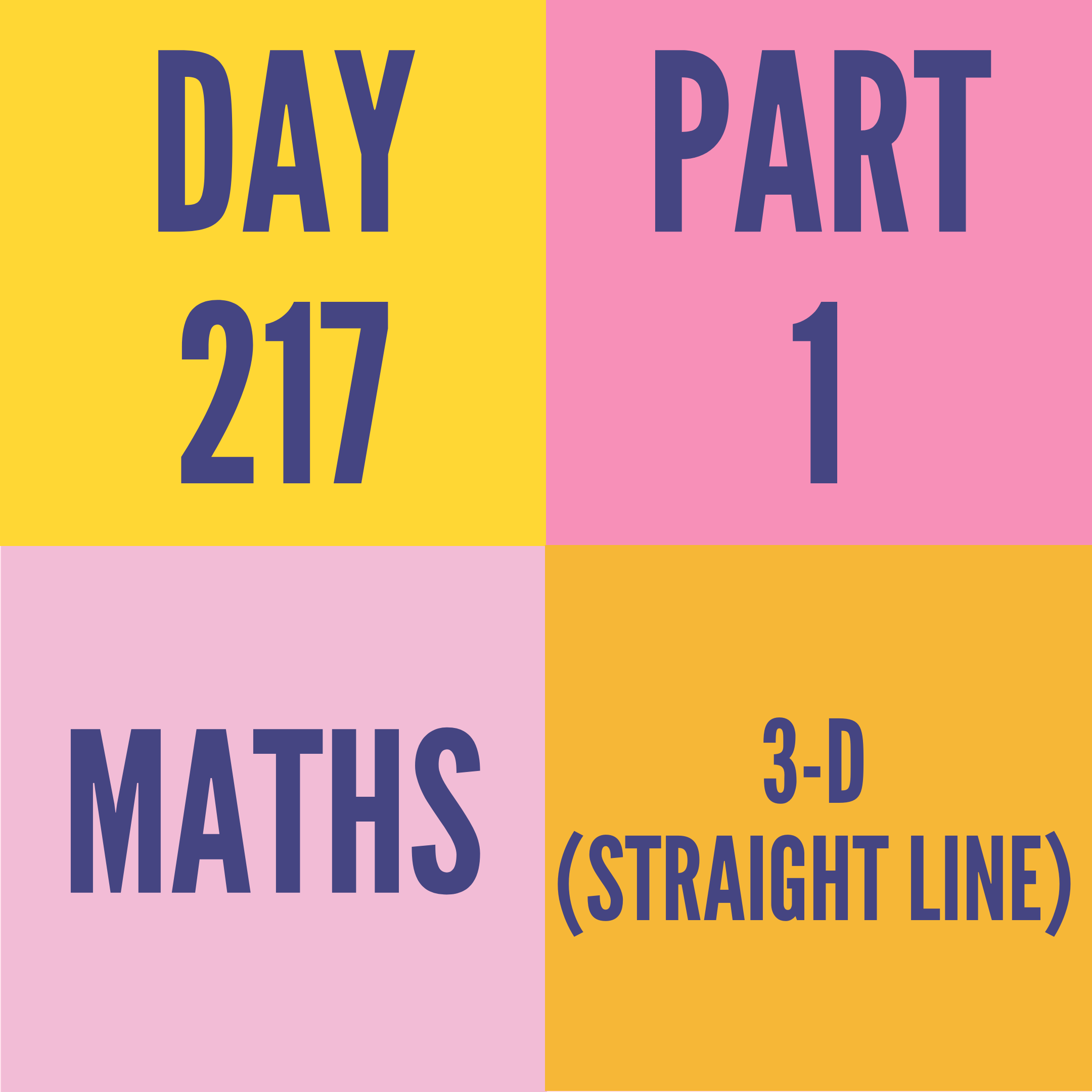 DAY-217 PART-1 3-D (STRAIGHT LINE)