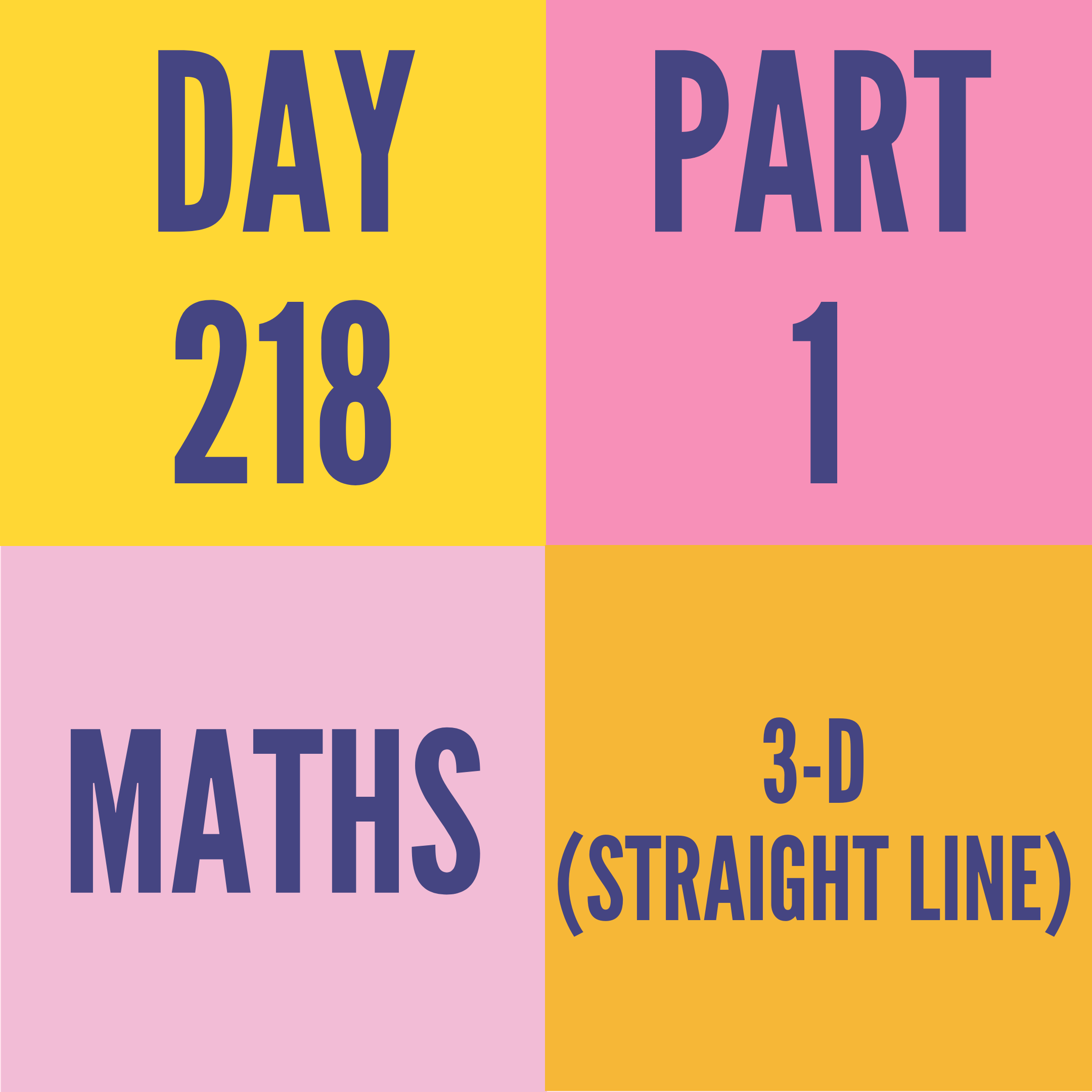 DAY-218 PART-1 3-D (STRAIGHT LINE)