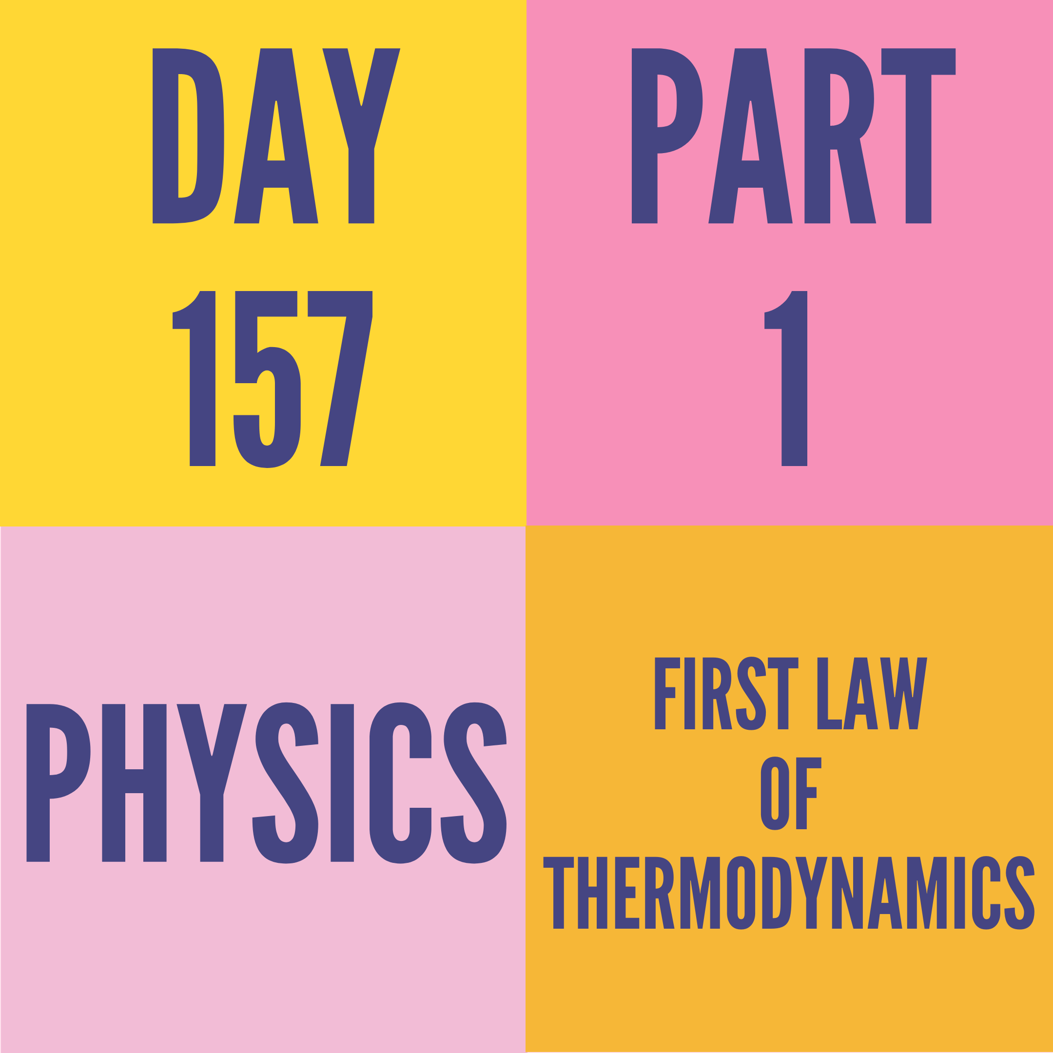 DAY-157 PART-1 FIRST LAW OF THERMODYNAMICS