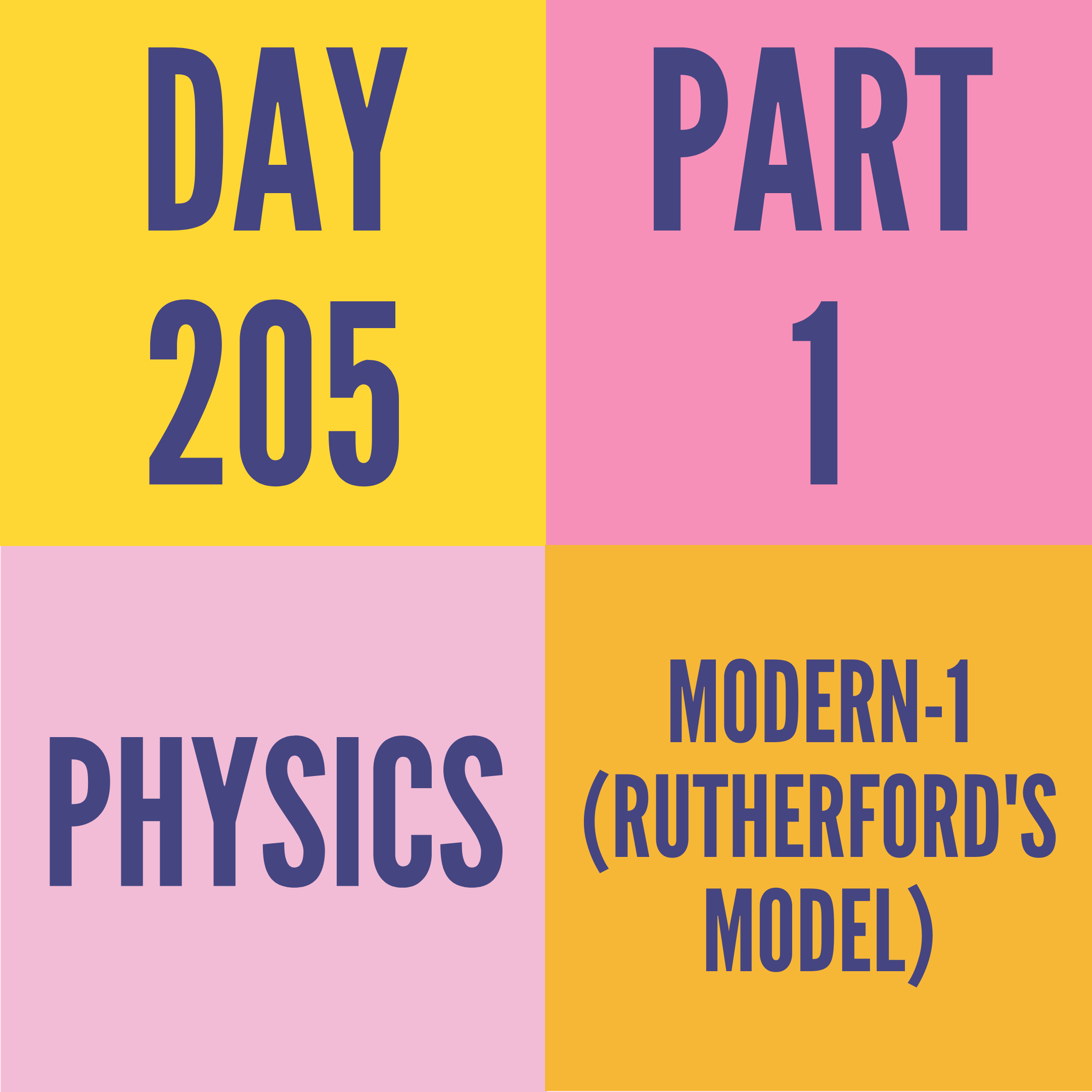 DAY-205 PART-1 MODERN-1 (RUTHERFORD'S MODEL)