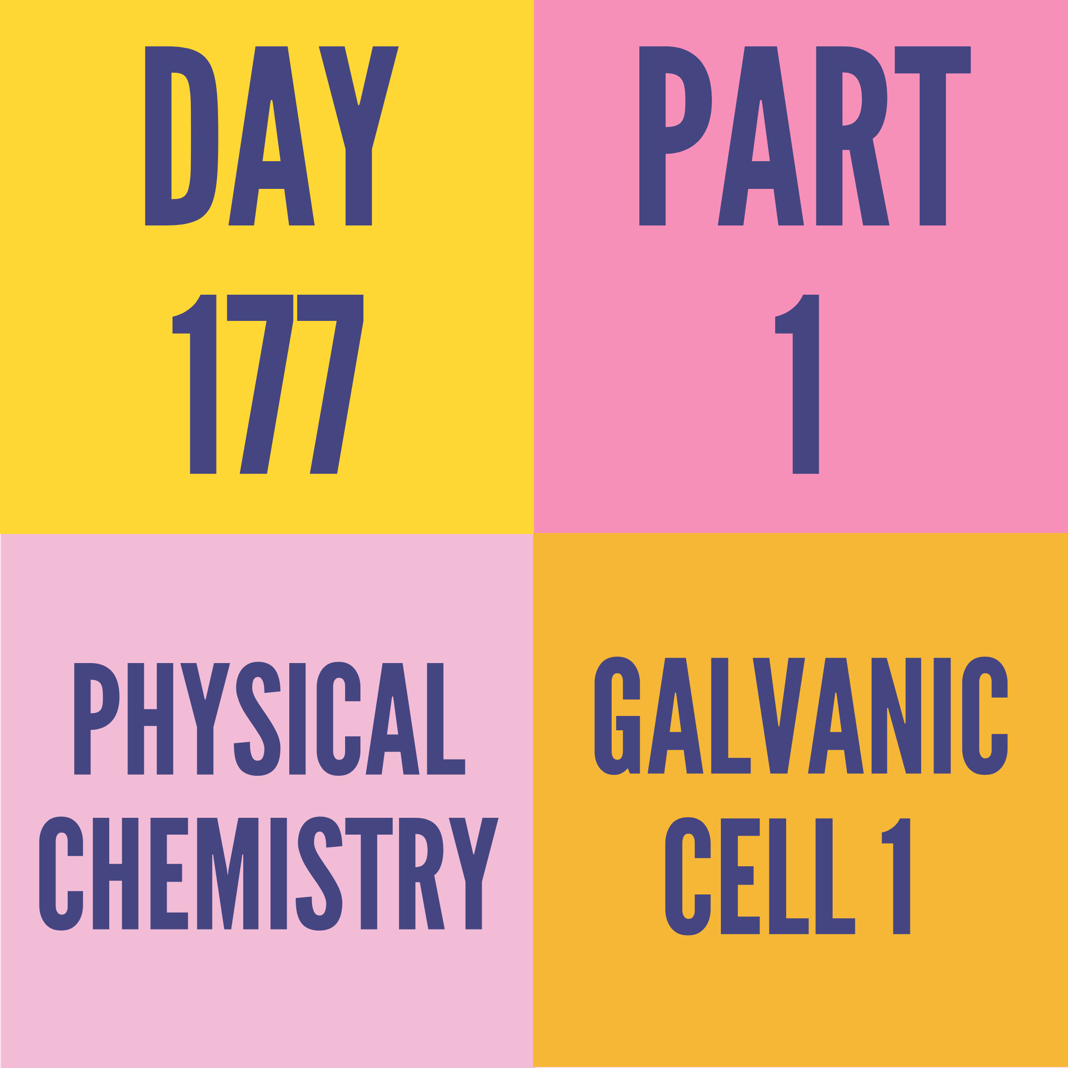 DAY-177 PART-1 GALVANIC CELL 1