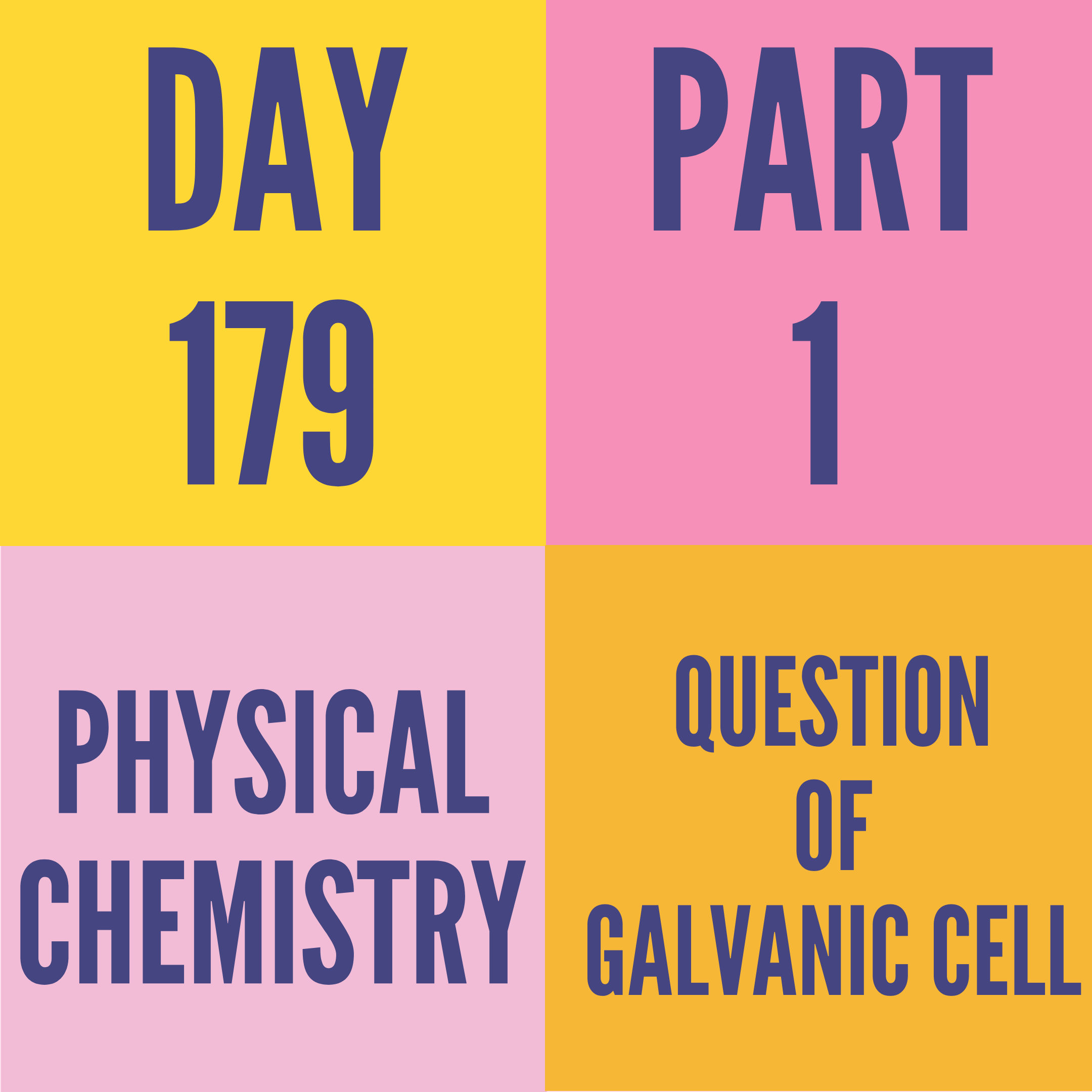 DAY-179 PART-1 QUESTION OF GALVANIC CELL