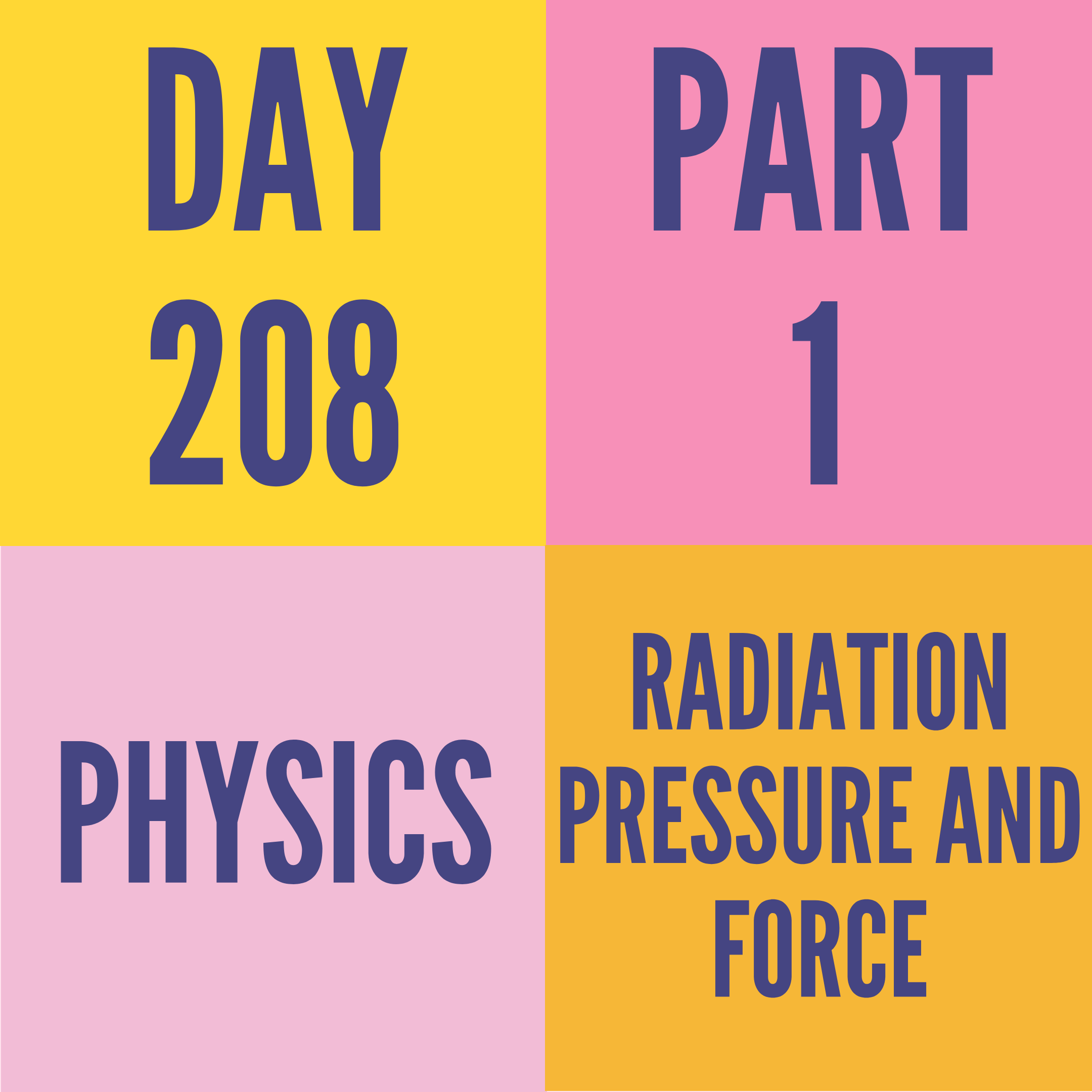 DAY-208 PART-1 RADIATION PRESSURE AND FORCE