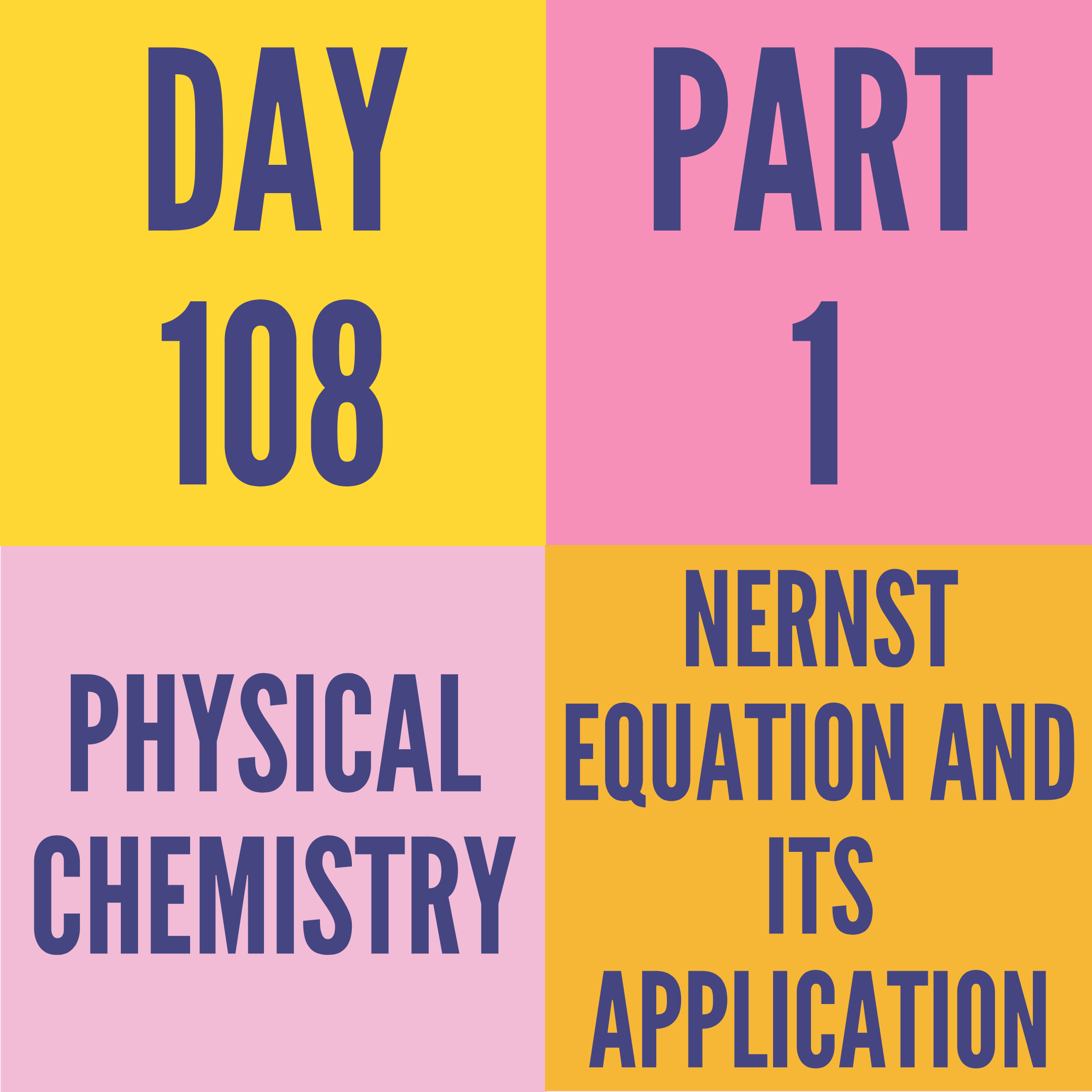 DAY-180 PART-1 NERNST EQUATION AND ITS APPLICATION