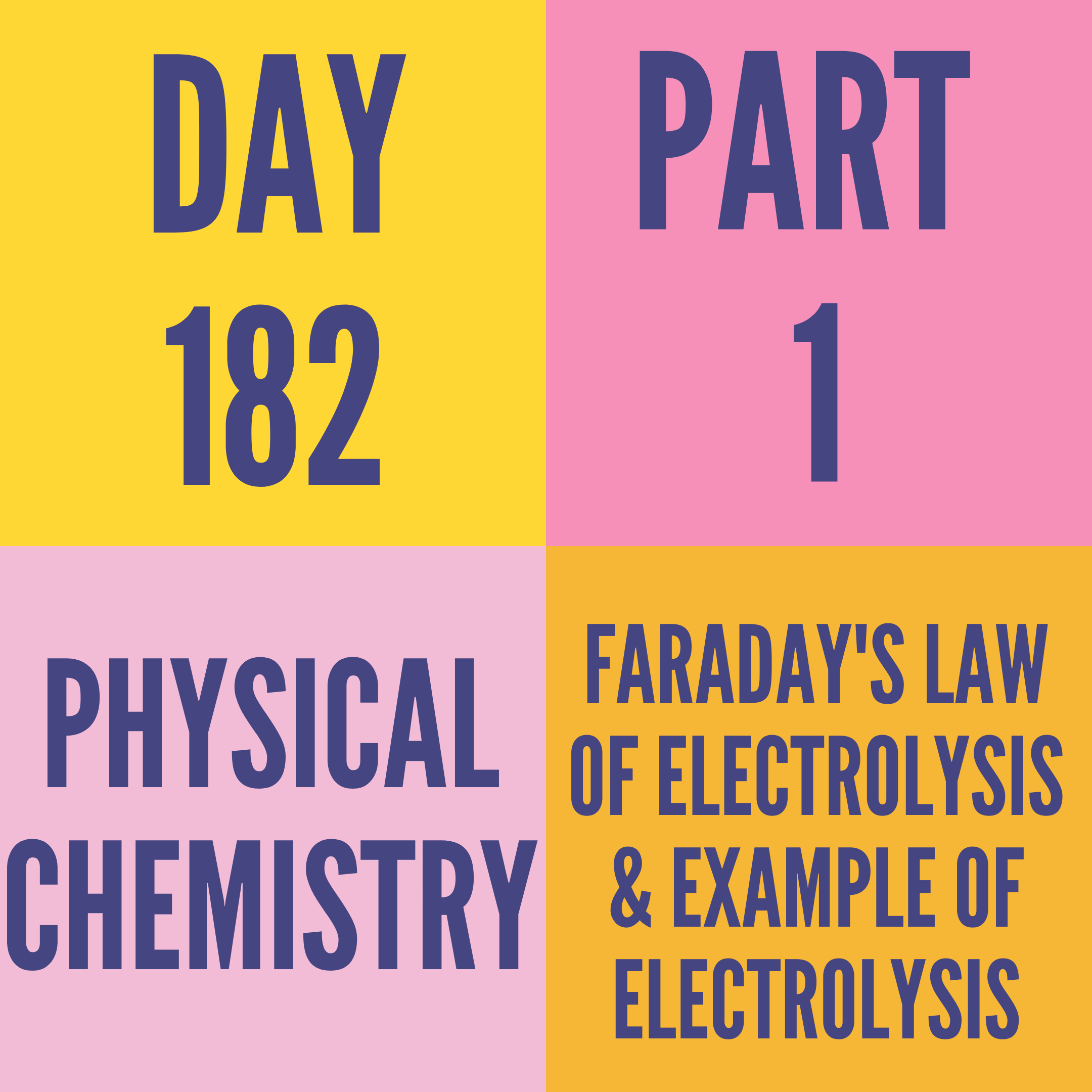 DAY-182 PART-1 FARADAY'S LAW OF ELECTROLYSIS & EXAMPLE OF ELECTROLYSIS