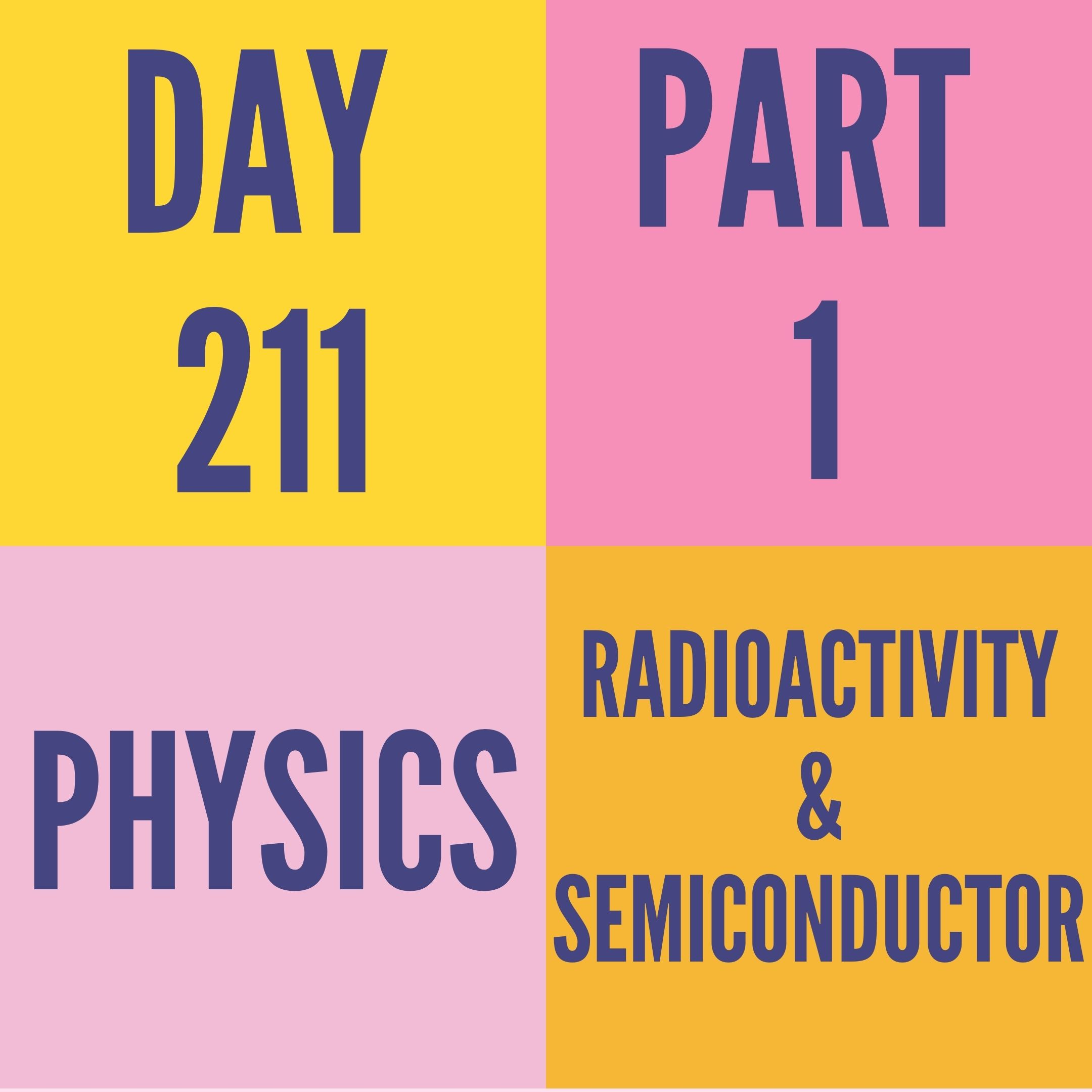 DAY-211 PART-1 RADIOACTIVITY AND SEMICONDUCTOR