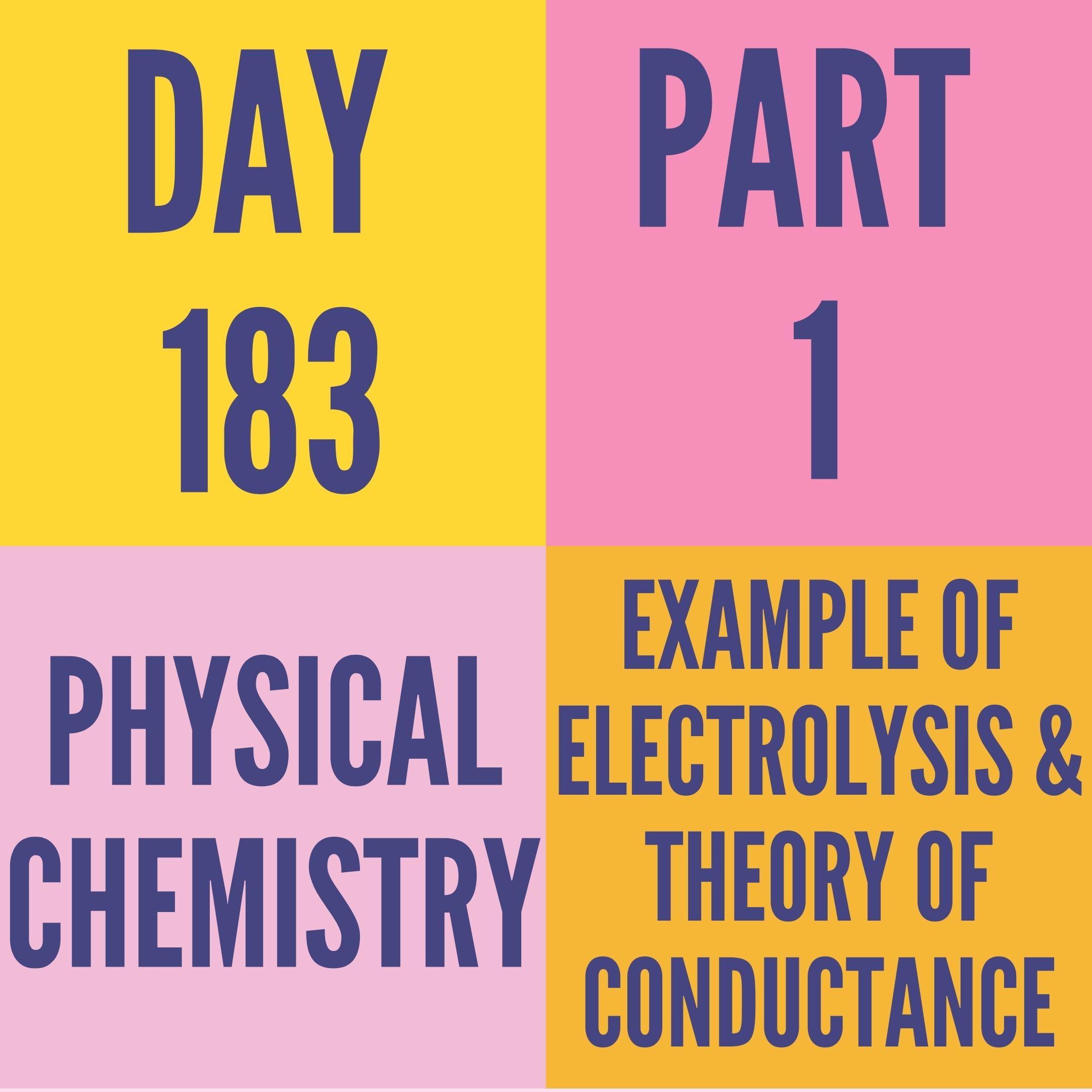 DAY-183 PART-1 EXAMPLE OF ELECTROLYSIS & THEORY OF CONDUCTANCE