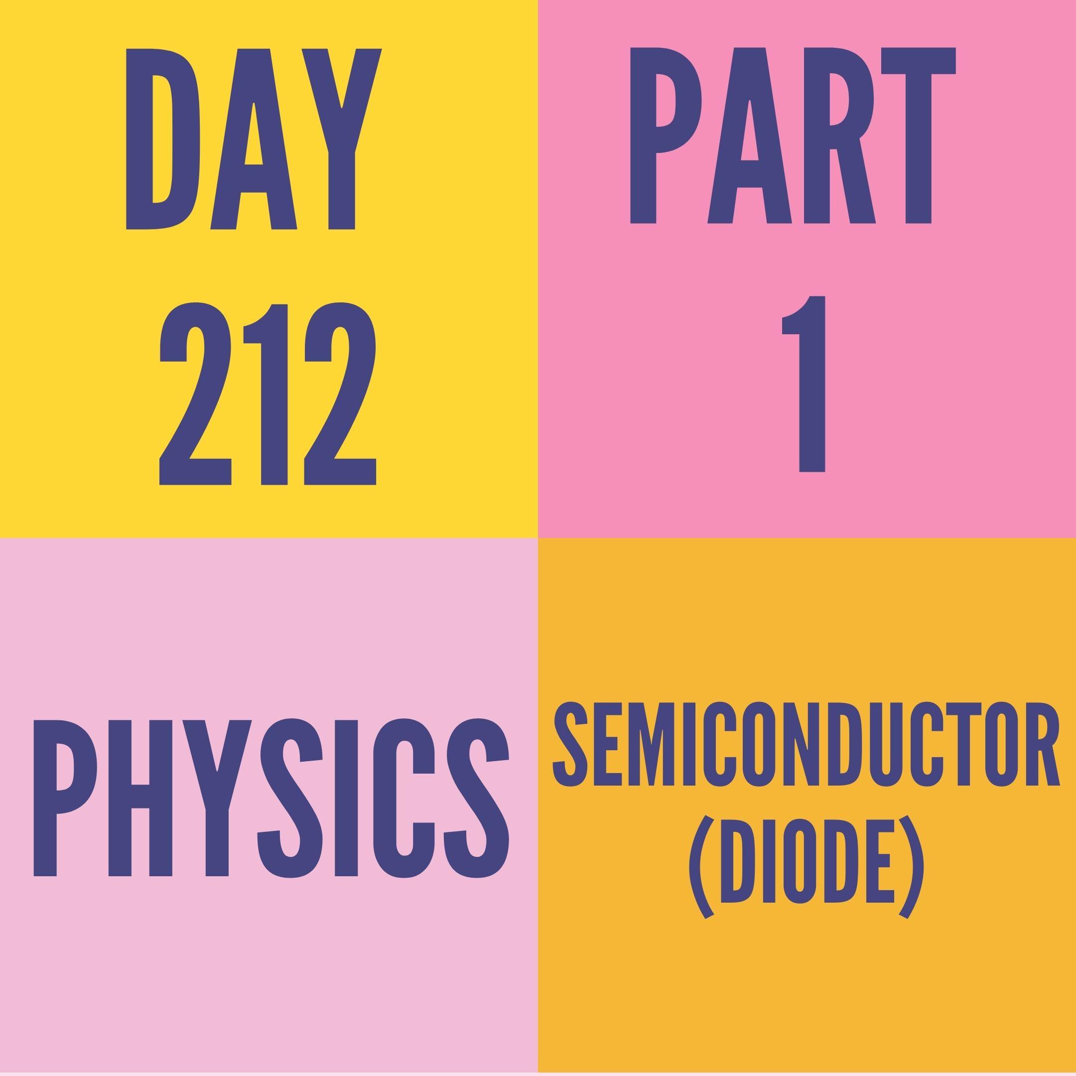 DAY-212 PART-1 SEMICONDUCTOR (DIODE)