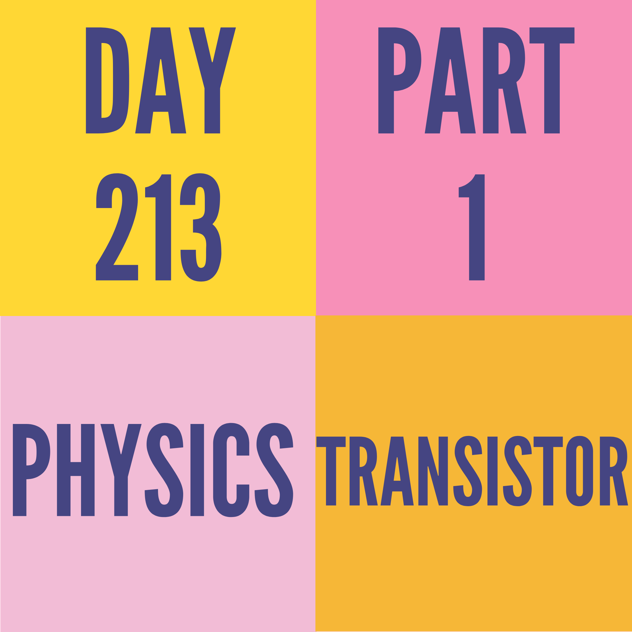 DAY-213 PART-1 TRANSISTOR