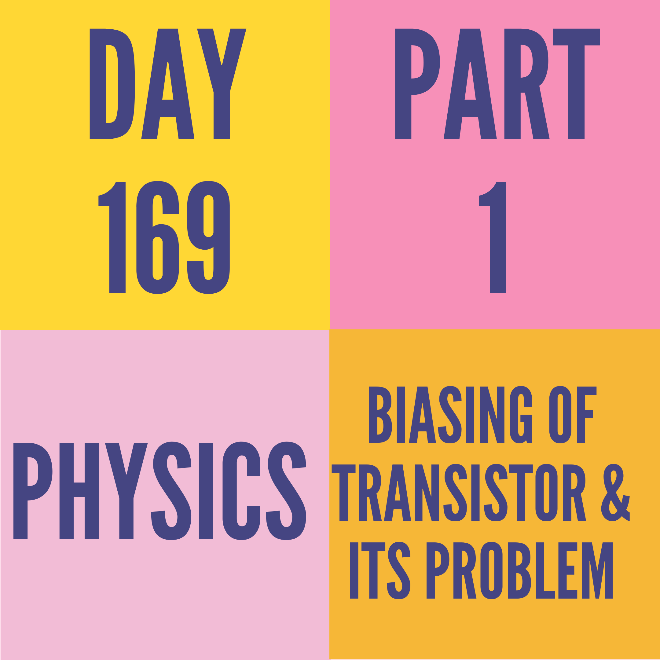 DAY-169 PART-1 BIASING OF TRANSISTOR & ITS PROBLEM