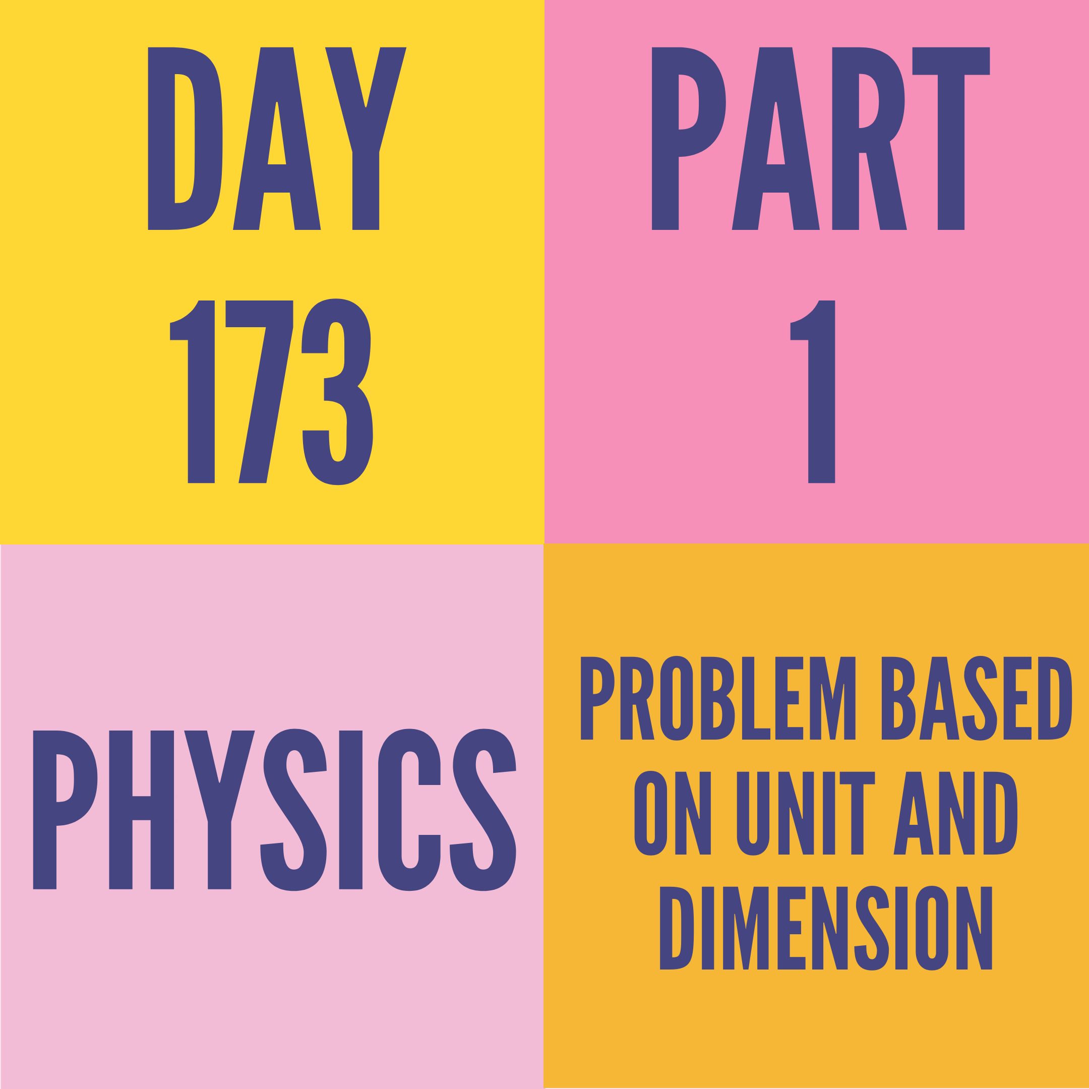 DAY-173 PART-1 PROBLEM BASED ON UNIT AND DIMENSION